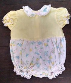 Vtg Baby Girl Bubble Romper 3-6M S Pastel Yellow Spring Floral Lace Trim  #Unbranded #DressyHolidayEaster