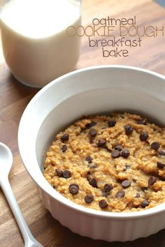 Oatmeal Cookie Dough Breakfast Bake -- a delicious single serve vegan breakfast that's packed with fibre and plant-based protein! || runningwithspoons.com #vegan #breakfast