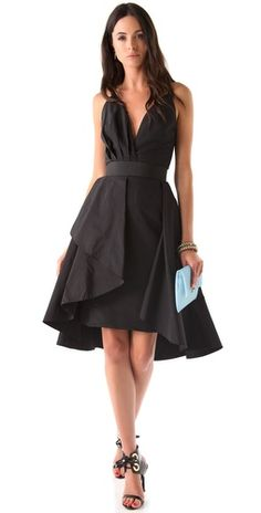 Katie Ermilio - Draped 2 in 1 Dress. This silk-taffeta dress features draping at the detachable A-line skirt overlay
