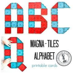 Magna-tiles Alphabet Printable Cards: Build the alphabet with magnetic tiles! Free printable cards of 26 letter designs for kids to reproduce.