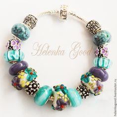 Купить Браслет евро шарм Бирюзовый с цветами 201 - бирюзовый, модный браслет, подарок девушке