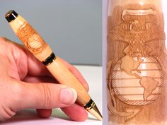 The Marine Corps insignia is laser engraved in the upper barrel of Personalized handmade Bethlehem Olive Wood pen. Marine Corps Insignia, Engraved Pens, Laser Engraving, Barrel, Handmade, Design, Hand Made, Barrels, Craft