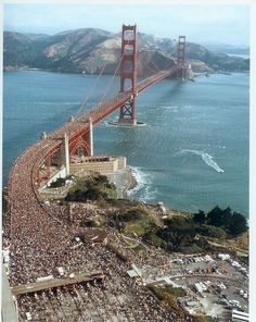 The Anniversary of The Golden Gate Bridge. The one time in the bridges history that the bridge was tested. People crowded onto the bridge which weighed the bridge down. This was the most weight the bridge has ever seen in it's lifetime. CA, USA San Francisco California, California Dreamin', Northern California, Places To Travel, Places To Visit, Most Beautiful Cities, Golden Gate Bridge, Bay Area, Wonders Of The World