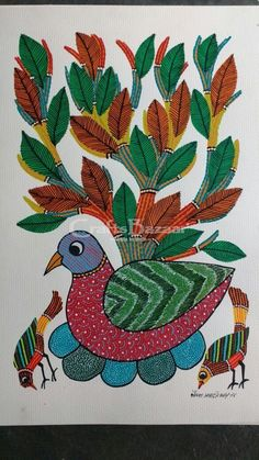 Gond Painting derives from the Gond tribal community which is amongst the biggest indigenous communities of Central India. Their art is a medium to express their day-to-day life's quest. The Gonds reside generally in Madhya Pradesh and adjoining States. They usually painted their homes mud walls and floors during celebrations and marriages using all natural colours. These pieces of creativeness are rich in colour, humour, detail and mystery. This painting portrays a mother bird incubates ...