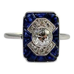 Art Deco Diamond Rings, Art Deco Ring, Antique Sapphire Rings, Art Deco Earrings, Art Deco Jewelry, Jewelry Rings, Platinum Jewelry, Sapphire Jewelry, Vintage Engagement Rings
