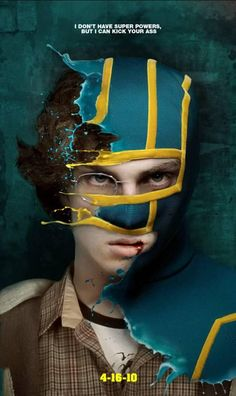 The liquid parts seem very fake if you take the time to look, but this unused official movie poster for Kick-Ass has some awesome style.