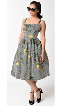 1166d1fc9d1 1950s Style Black   White Stripe Yellow Texas Rose Norma Jean Swing Dress  Vintage Fashion 1950s