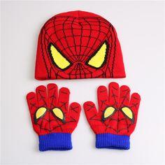 Gloves + hat Hot Sale Children's Winter Cartoon Minions Glove Hat Sets Fashion Kids Baby Warm Knitted Caps Spiderman hat gloves