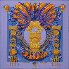 840b5ad7cb0a Carré 90 x 90 cm Hermès   Mexique Carré Hermes, Mexique, Rosace, Foulards