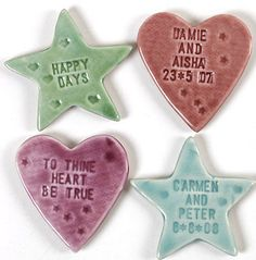 Salt dough magnets , clay embossed and painted Salt Dough Projects, Salt Dough Crafts, Projects For Kids, Craft Projects, Craft Ideas, Wedding Favours Magnets, Favors, Diy And Crafts, Crafts For Kids