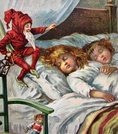 Unusual ELF Gnome Sprinkles Magic Dust on Sleeping GIRLS CHRISTMAS Postcard | eBay