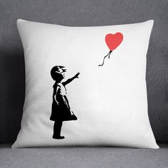 Girl with Balloon Printed Cushion