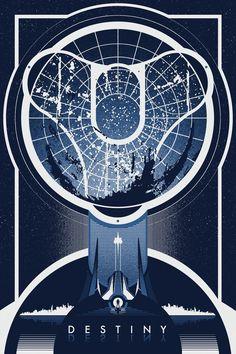 """theomeganerd: """" BioShock Infinite & Destiny Posters by Ron Guyatt """""""