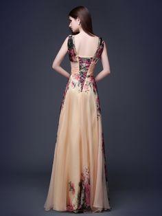 A-Line Printing V-Neck Flower Floor-Length Evening Dress