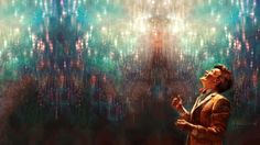 stars matt smith glowing eleventh doctor smiling artwork doctor who looking up alice x zhang 1920 Art HD Wallpaper