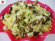Insalata di riso basmati al curry con melanzane e scamorza