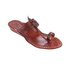 8e48aac9bab5 Lovely Red Brown Fine Braids and Punching Platform Heel Ladies Kolhapuri  Chappal W-435