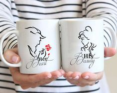 For the couple: You'll love this Beauty and the Beast themed His and Her coffee mug set - Her Beast, His Beauty.