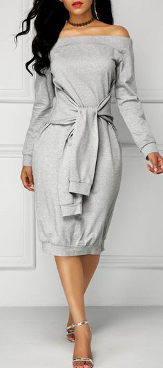 Grey Long Sleeve Tie Front Bardot Dress.