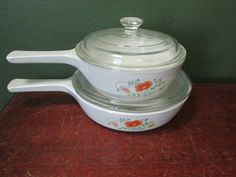 Corning Ware Wildflower Skillets and Saucepan Set of 2 with Lids by LuRuUniques on Etsy