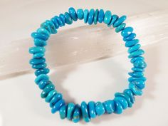 Sleeping Beauty Turquoise Stretch Bracelet 8mm to 9mm Nugget Slice Chip Gemstone Beads by SandiLaneFineArt on Etsy