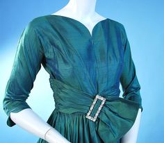 Image detail for -Vintage party dress 1950 Iridescent peacock green and violet silk ...