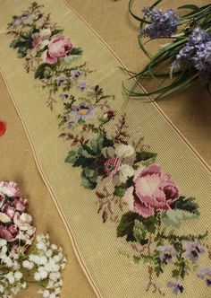 "40"" Vintage Preworked Bell Pull Needlepoint Canvas Roses Flowers Hand Stitched"