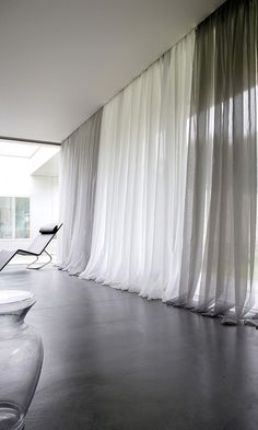Pool the long drapes at the floor for a specific look. Pool the long drapes at the floor for a specific look. Home Curtains, Curtains With Blinds, Sheer Drapes, Gray Curtains, Modern Curtains, Drapery, Long Window Curtains, Grey And White Curtains, Tapestries