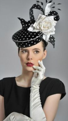 Black & White Polka Dot Pillbox Hat with Upstanding Bow, Black Feathers & Large White Satin Rose ~ by Guibert Millinery . Millinery Hats, Pillbox Hat, Crazy Hats, Cocktail Hat, Church Hats, Fancy Hats, Kentucky Derby Hats, Wedding Hats, Love Hat