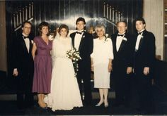 Hasek and Perkins families of St. Louis, MO at the wedding of Susan and Christopher Hasek in Dallas, Texas, 1987. Missouri History Museum. collections.mohistory.org #vintagewedding #1980sstyle