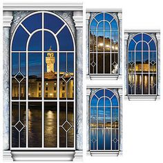 This fascinating Venice Twilight Window Panel Standee Set includes four printed window scenes which show lights reflecting off the Venetian Canal.