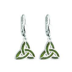 Sterling Silver Connemara Marble Trinity Knot Earrings