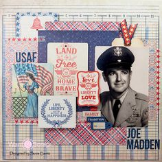 US Air Force Patiotic Layout by Susie Bentz with Want2Scrap bling and Authentique Paper Freedom Collection - Scrapbook.com