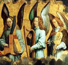 This detail of a work by German painter Hans Memling (c. 1430-1494) shows angel musicians. It is the right portion of a triptych.