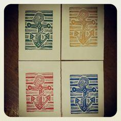 Nautical Anchors - linoleum block prints