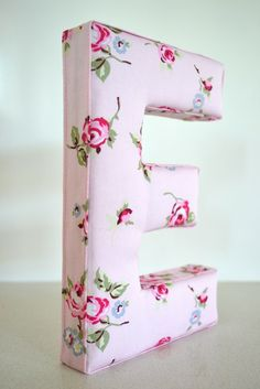Fabric Letter Wall Art in Shabby Chic Pink