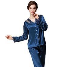2017 Marque de Luxe Femmes Pyjama Ensemble 2017 Faux Soie Dentelle dames Pyjamas  Femme Pijamas 2 260c3ea4d28