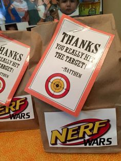 Nerf Gun Party Bags Nerf Birthday Party, Nerf Party, Spy Party, Birthday Games, 8th Birthday, Party Time, Birthday Ideas, Party Bags, Battle Party