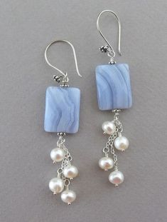 Blue lace agate and pearl earrings #JewelryMaking