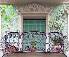Barcelona - Passatge Font 003 c Juliette Balcony, Balcony Railing Design, Art Nouveau Architecture, My Dream Home, Valance Curtains, Fonts, Art Deco, Around The Worlds, Windows