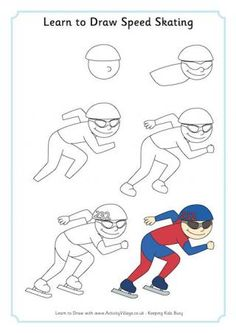 how to draw a speed skater