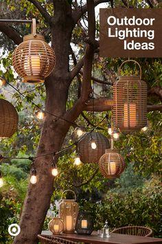 Garden Yard Ideas, Backyard Patio Designs, Backyard Projects, Backyard Landscaping, Backyard Lighting, Outdoor Lighting, Lighting Ideas, Outdoor Decor, Backyard Makeover