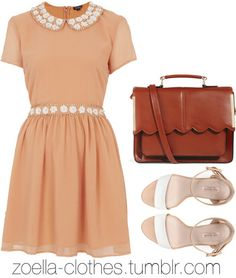 Cute peach color rounded Lacey collar with a light brown leather satchel and white sandles