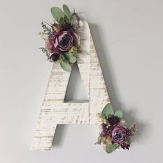 Dried Wildflower Wooden Letter S Floral Letter by MeadowandMoss