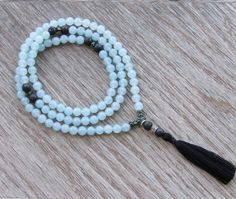 Blue Quartz Mala Necklace  Tibetan Buddhist Mala  by BBTresors