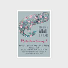 Whale Birthday Party Invitation Printable 5x7 Watercolor Floral Whale Birthday Invitation Nautical Birthday Girl Is Turning Birthday Party by MossAndTwigPrints on Etsy