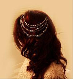 Bohemian mulheres de ouro pérola headpiece Headband parte principal Hairband noiva deusa hippie cadeia(China (Mainland))