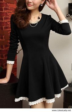 Classic black dress with white lace love for work. Too cute - exactly my style. - LV
