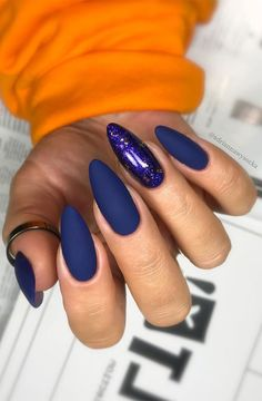 Blue Matte Nails, Matte Acrylic Nails, Neutral Nails, Toenail Art Designs, Blue Nail Designs, Beautiful Nail Designs, Black And Blue Nails, Witchy Nails, Pointy Nails