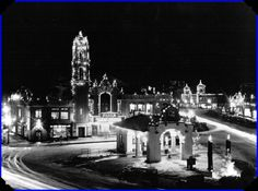 Plaza, date unknown. The service station in the foreground is in approximately the location of the current Cheesecake Factory patio.